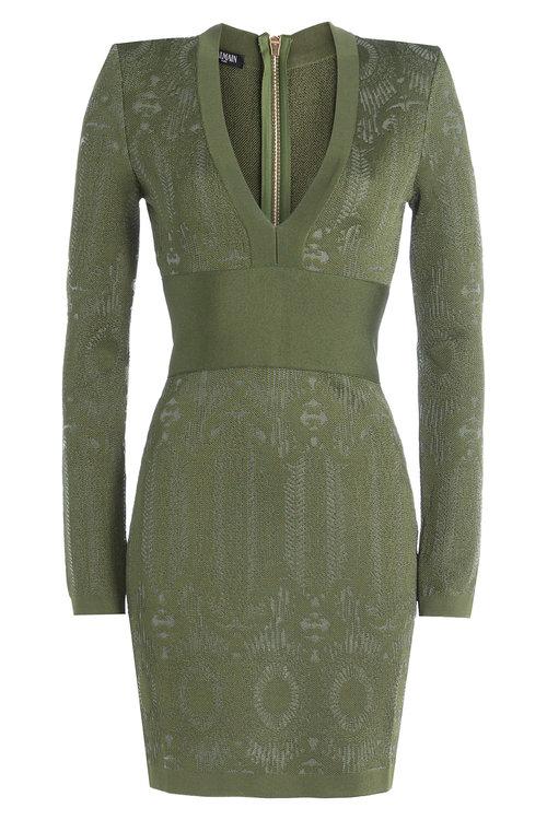 Balmain Knit Panel Mini Dress In Green