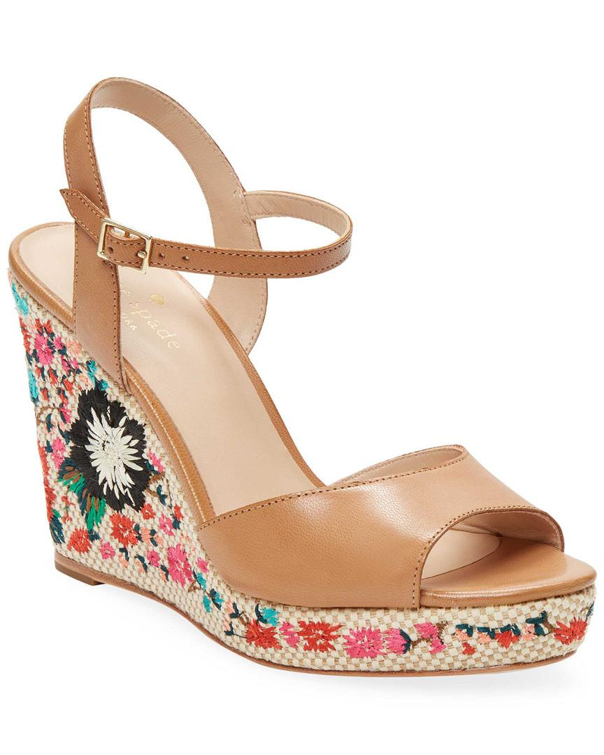 2920ee5700b1 Kate Spade Jardin Leather Embroidery Wedge Sandal In Nocolor