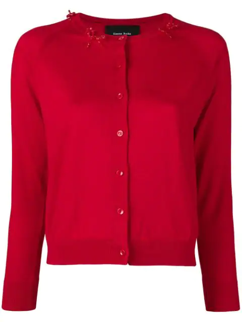 Simone Rocha Beaded Bow Cardigan In Red/red