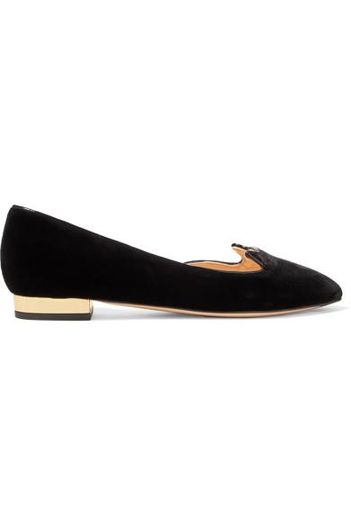 Charlotte Olympia Kitty Leather-Trimmed Velvet Slippers In Black