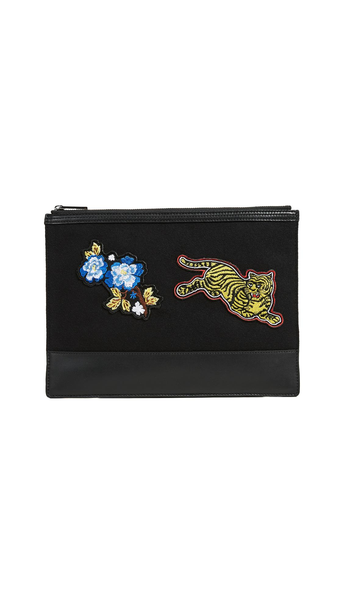 Kenzo Multicolored Patched Leather Pouch In Black