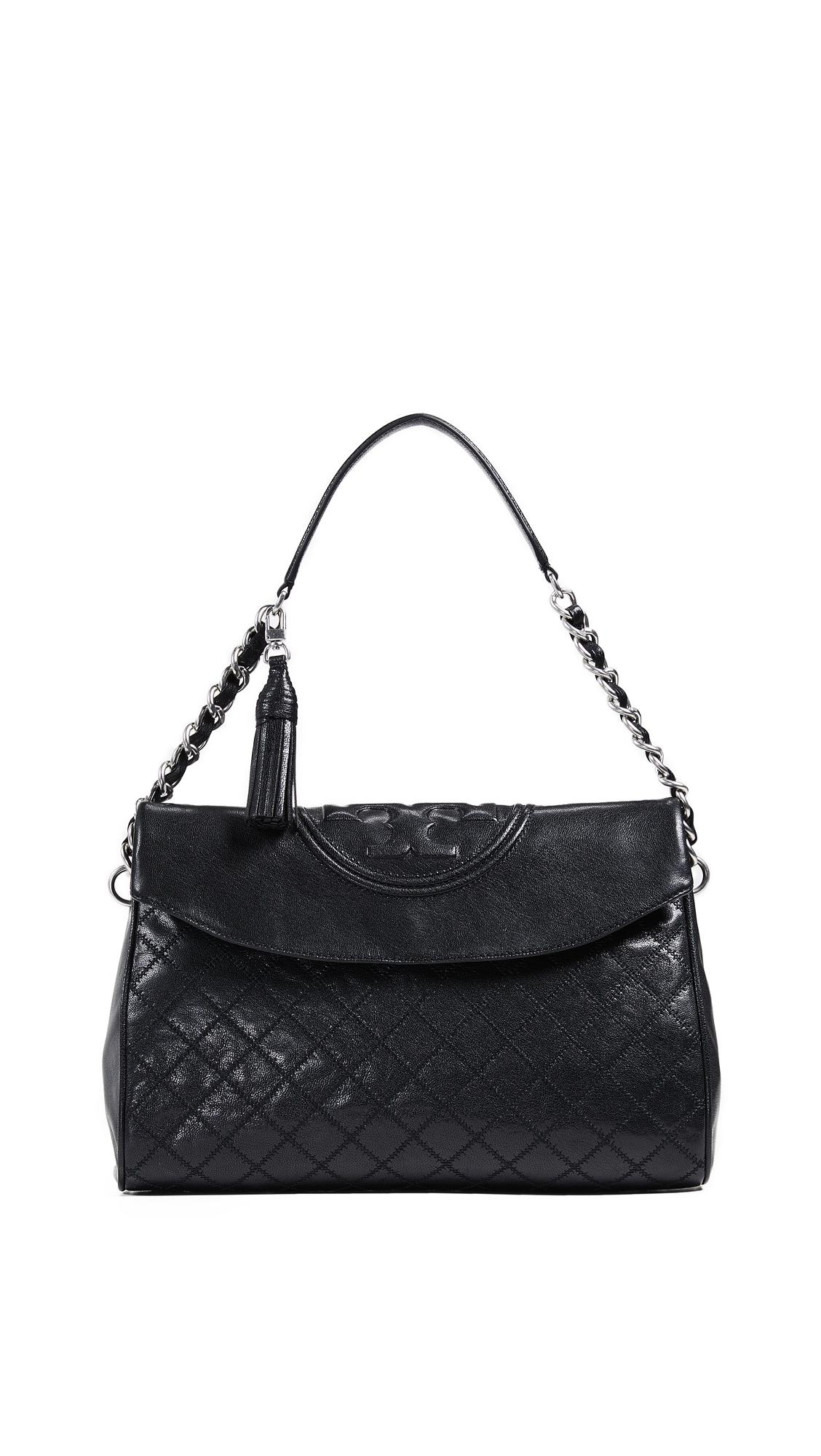 8f7e9733c5f Tory Burch Fleming Distressed Leather Fold Over Hobo In Black