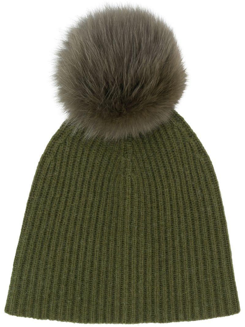 ffff1cfe Yves Salomon Accessories Knit Pom Pom Beanie - Green | ModeSens