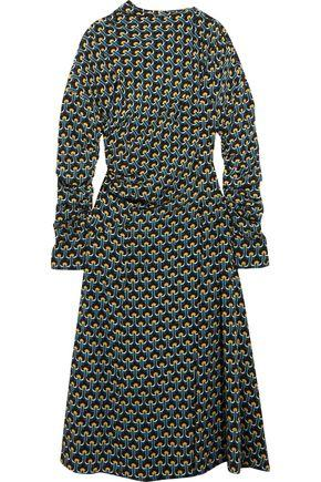 Marni Woman Gathered Printed Silk-Crepe Midi Dress Petrol