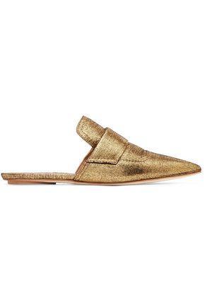 Marni Woman Metallic Textured-Leather Slippers Gold