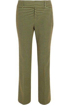 Marni Woman Wool-Blend Jacquard Bootcut Pants Chartreuse