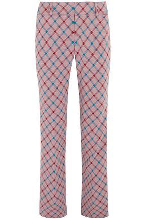 Marni Woman Checked Brushed-Twill Bootcut Pants Lavender