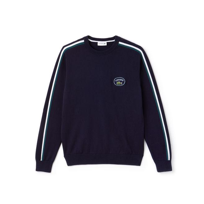 d609d7742026be Lacoste Men's Crew Neck Contrast Accents Cotton Jersey Sweater In Navy Blue  / Green / White