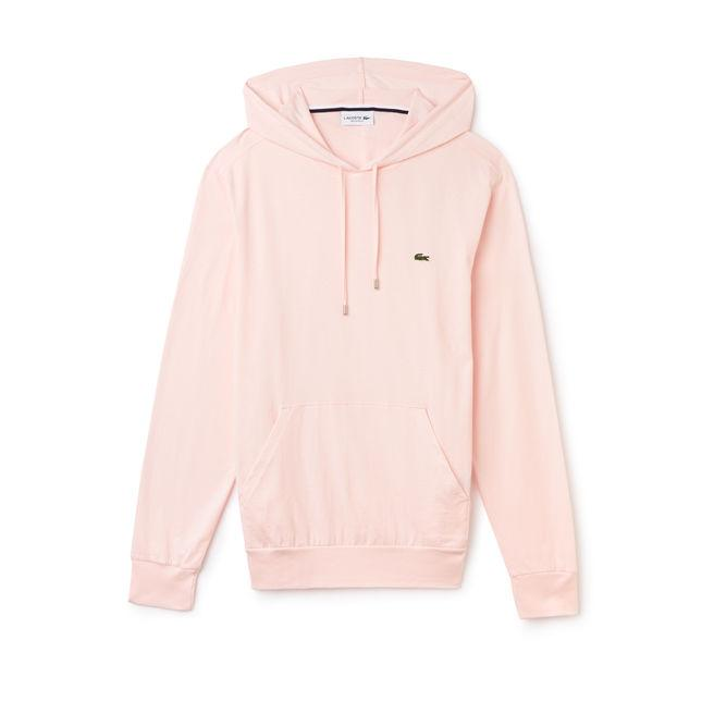 9b5ef96f5fc Lacoste Men s Hooded Cotton Jersey Sweatshirt In Light Pink