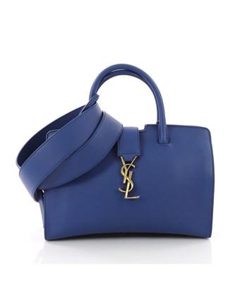 Saint Laurent Pre-Owned: Monogram Cabas Downtown Leather With Suede Baby In Blue