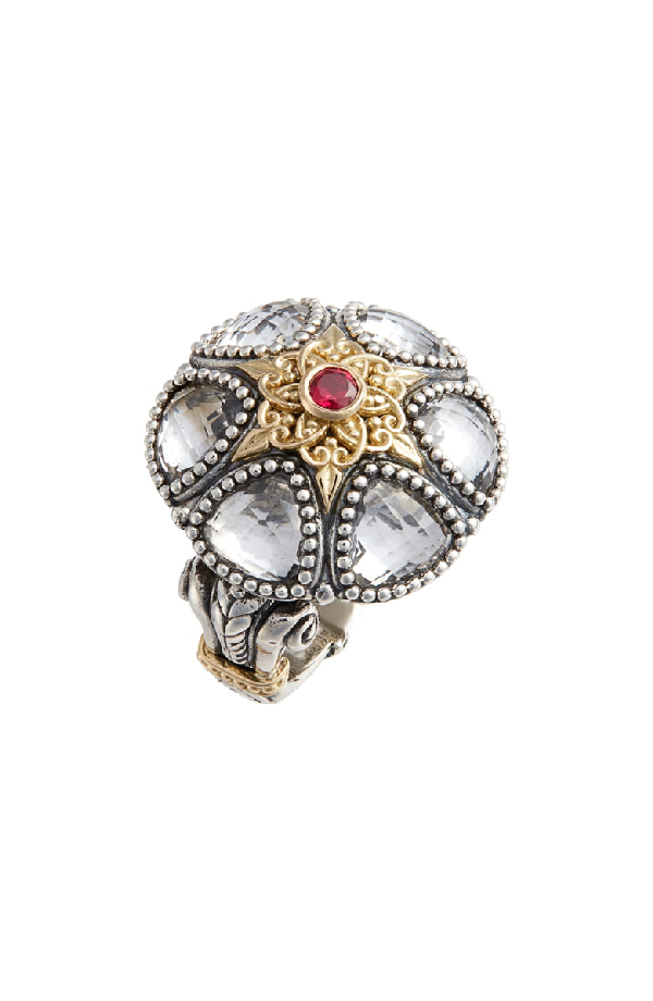 Konstantino Pythia Crystal, Corundum, Sterling Silver & 18K Yellow Gold Cocktail Ring In Silver/ Crystal
