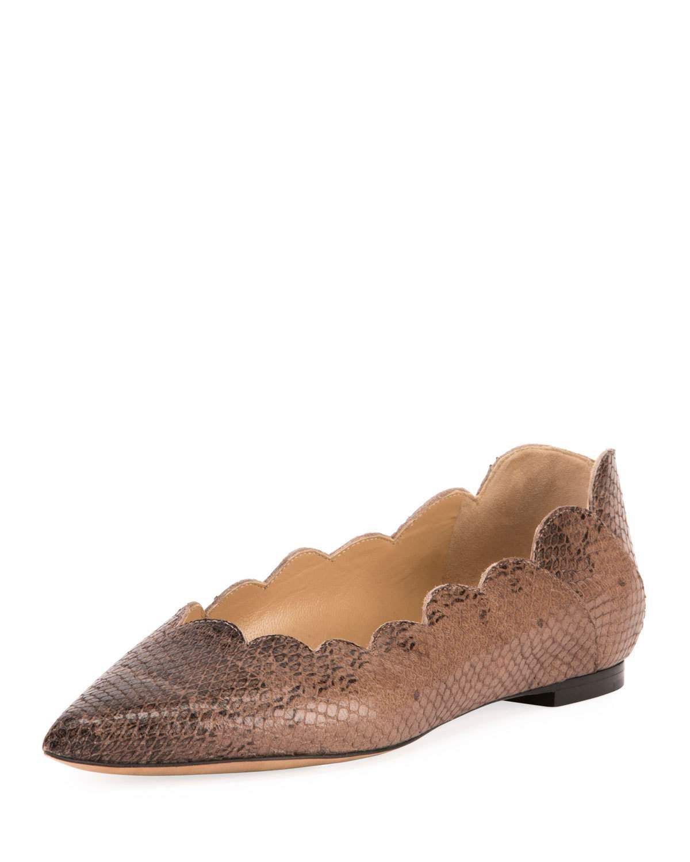 d892ba2428c ChloÉ Women's Lauren Pointed Toe Snakeskin-Embossed Leather Ballerina Flats  In Coconut Brown