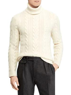 3adadd7811e232 Ralph Lauren Men's Cashmere Turtleneck Sweater In White   ModeSens