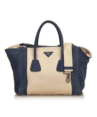 d9e33ad17a8a Pre-Owned  Canvas Suede Shopping Bag in Blue X Navy X Brown X Beige