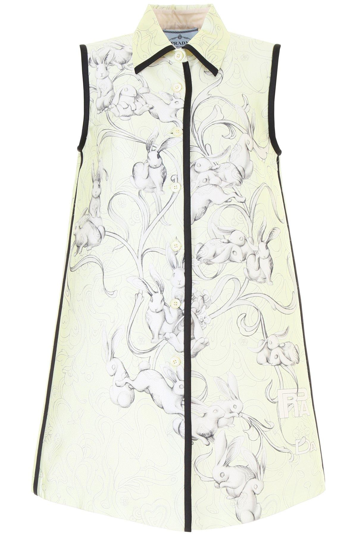 cc9fdfd570e09b Prada Bunny Print Collared Dress In Cream | ModeSens