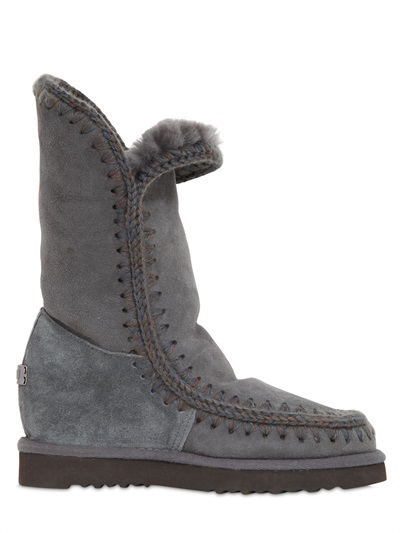 Mou 70Mm Eskimo Shearling Wedge Boots, Grey