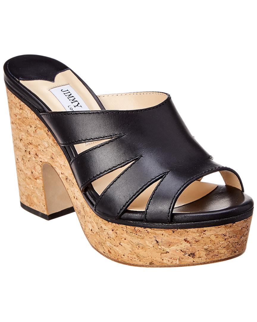 6656391ea651 Jimmy Choo Dray 100 Cork Platform Leather Sandal In Black