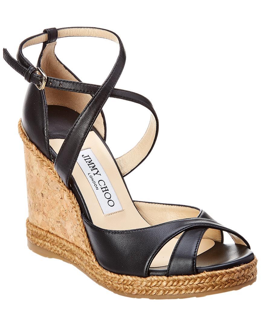 c63a03f341b2 Jimmy Choo Alanah 105 Leather Wedge Sandal In Black | ModeSens