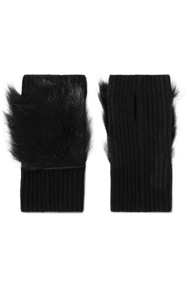 111528cb6f1 Karl Donoghue Shearling-Trimmed Ribbed Cashmere Fingerless Gloves In Black