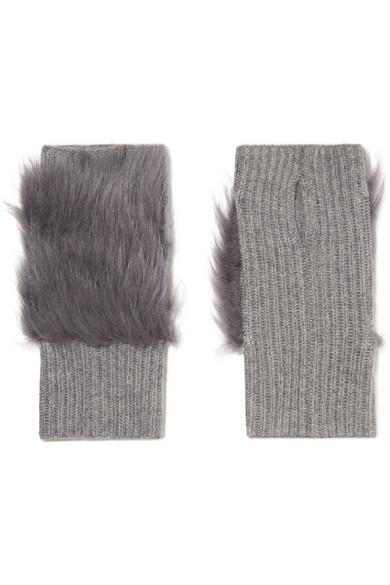 80d849dc1f8 Karl Donoghue Shearling-Trimmed Ribbed Cashmere Fingerless Gloves In Gray
