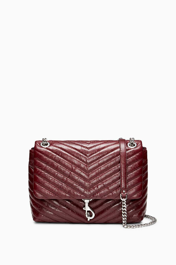796bfb426 Rebecca Minkoff Edie Medium Convertible Leather Shoulder Bag In Bordeaux