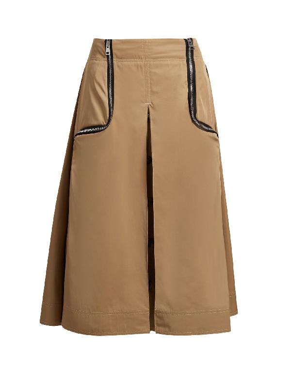 Jw Anderson Zipped Gabardine Midi Skirt In Beige