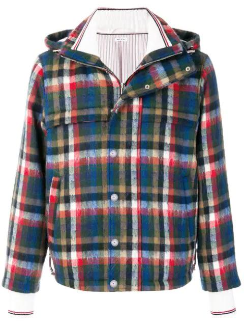 Thom Browne Gingham Tartan Down-Filled Hairy Mohair Tech Jacket - Multicolour