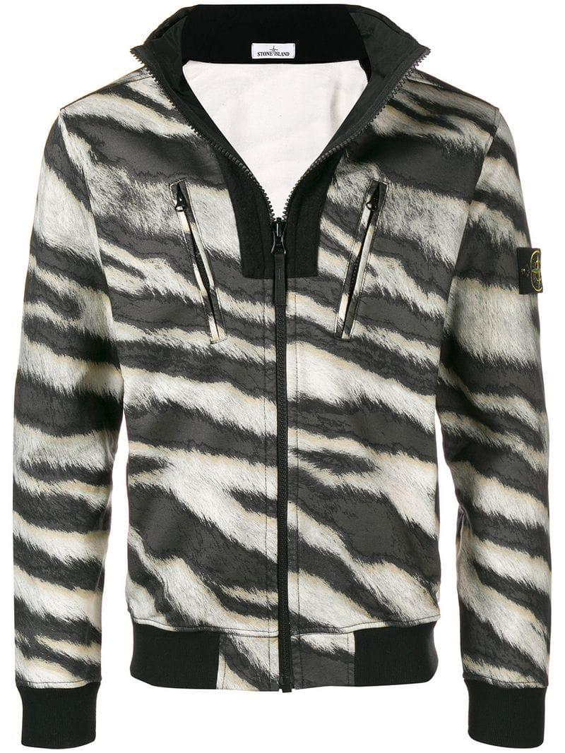 a2576a680 Stone Island Zebra Print Coat In Brown   ModeSens