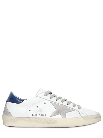 Golden Goose Super Star Leather And Suede Sneakers In White