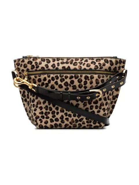 Sacai Leopard Print Clutch In Black