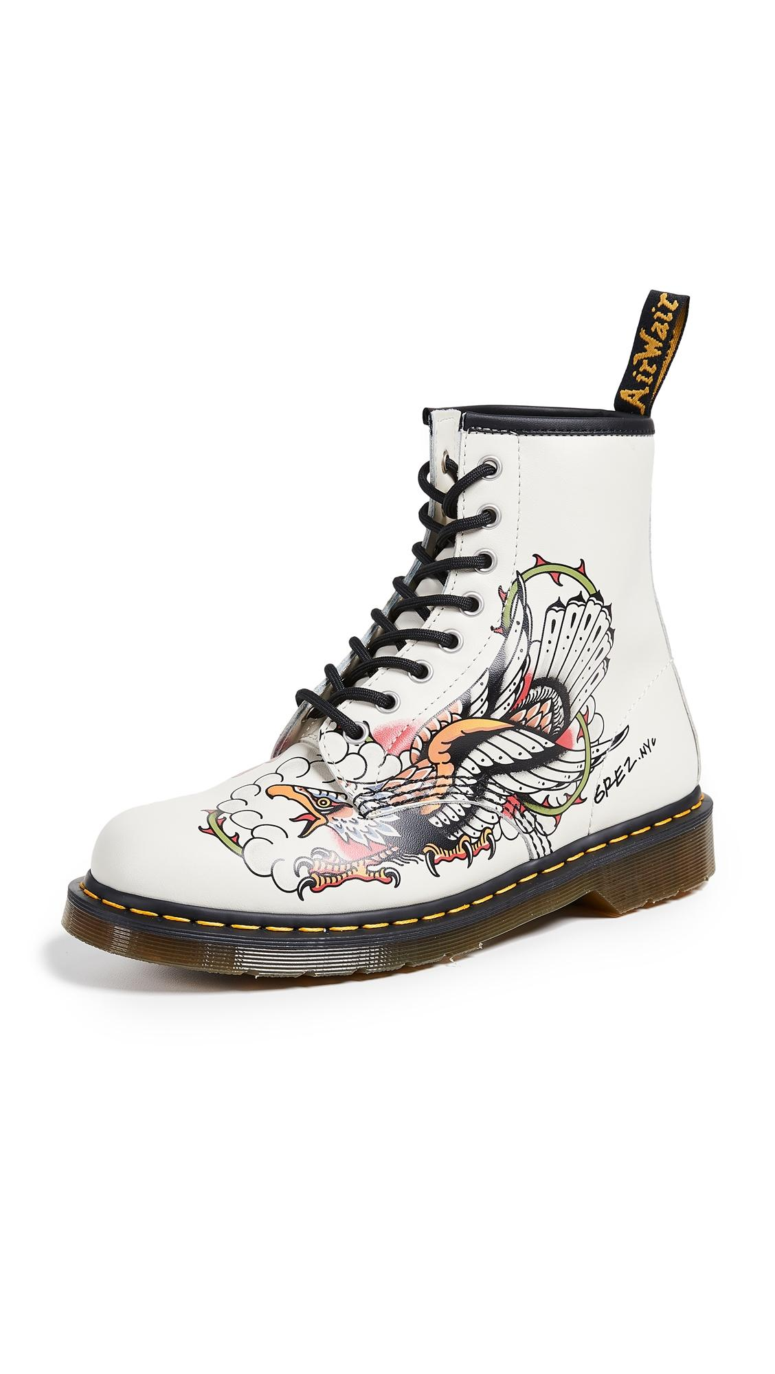 Tattoo Usa 1460 8 Eye Boots In White Multi