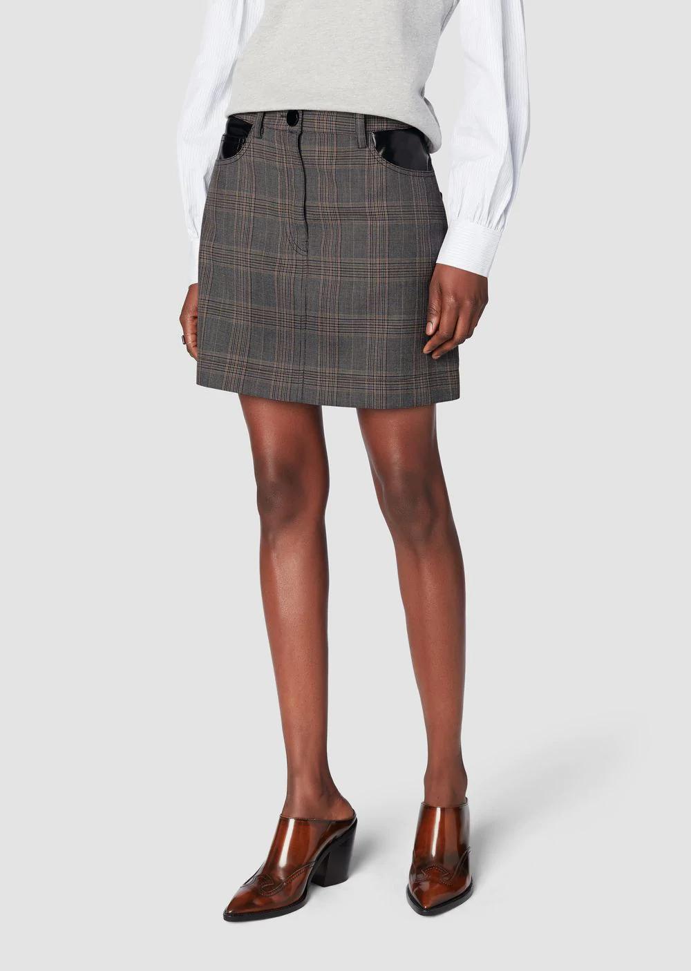 ce6dc807b1 Derek Lam 10 Crosby Plaid Jean Mini Skirt With Faux-Leather Trim In Grey