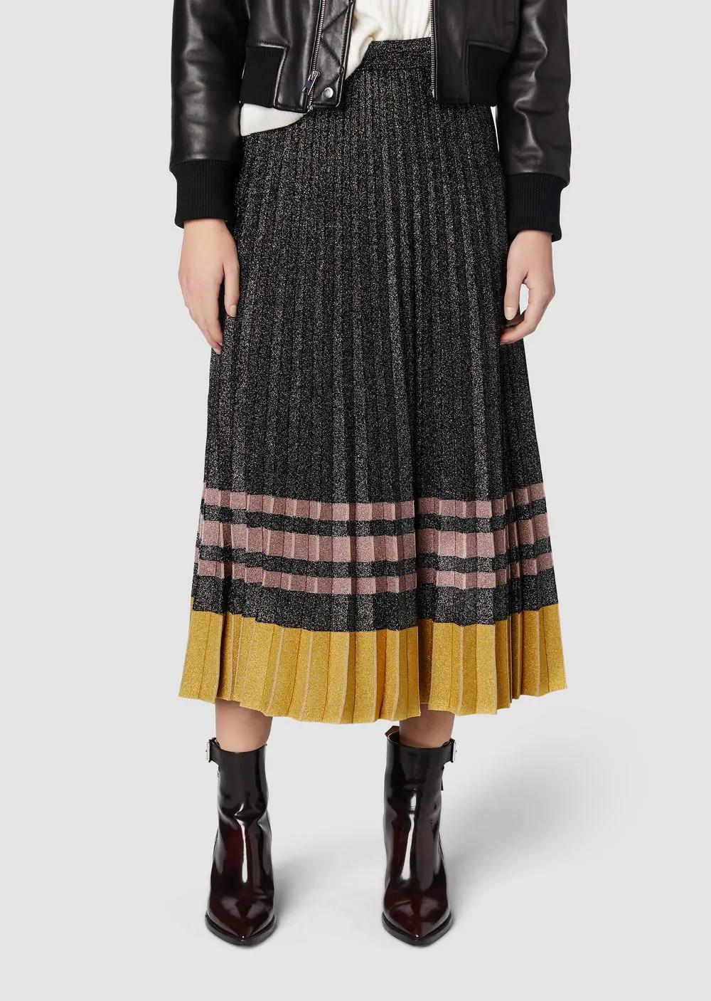 645bd2253f Derek Lam 10 Crosby Pleated Metallic Knit Midi Skirt In Black Multi ...