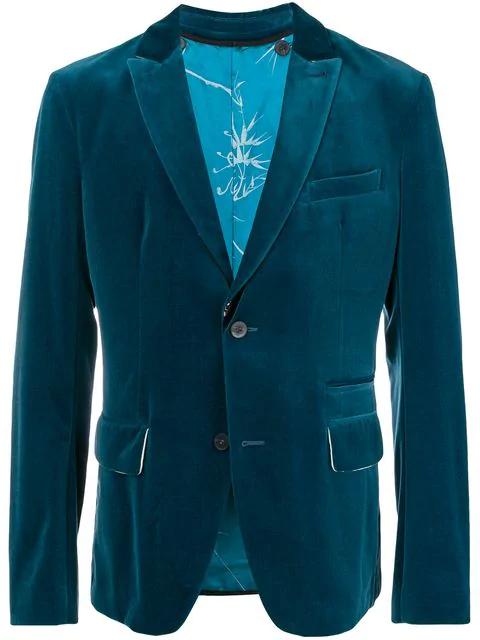 Haider Ackermann Petrol Cotton-velvet Blazer In 046 Blue