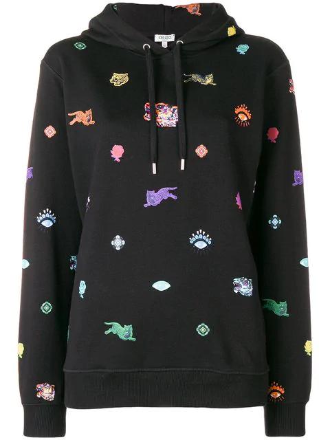 Kenzo Tiger Capsule Multi Icons Hoodie In Black