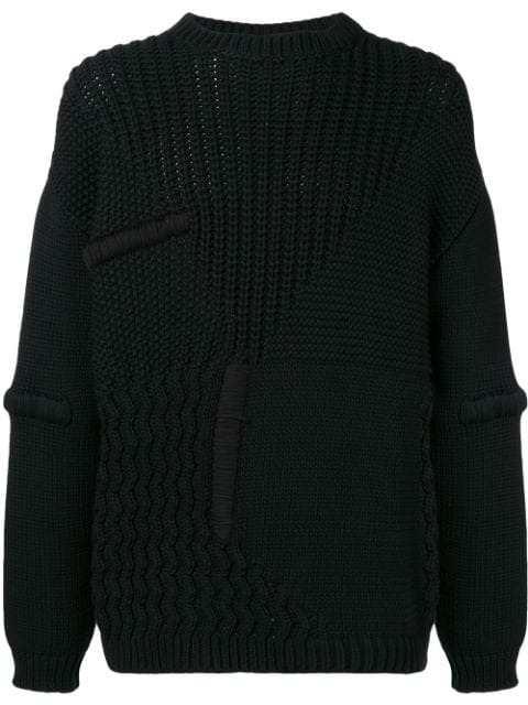 Oamc Prisma Stitch Crew Neck Knit Sweater In Black