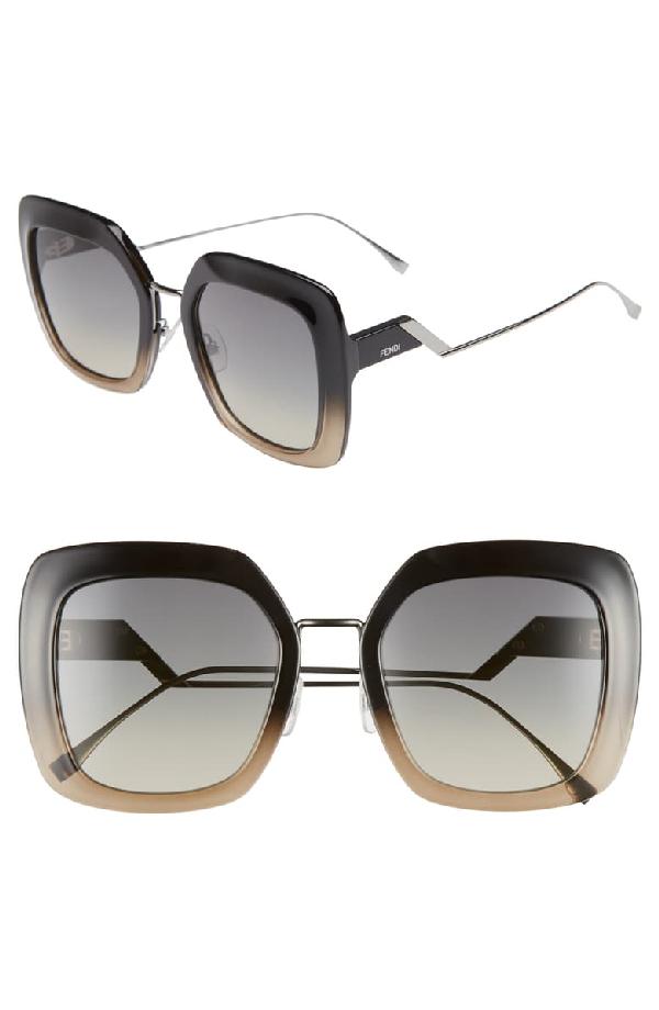 Fendi 53mm Square Gradient Sunglasses - Black/ Crystal