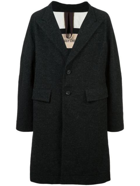 Ziggy Chen Oversized Single-breasted Coat In Black
