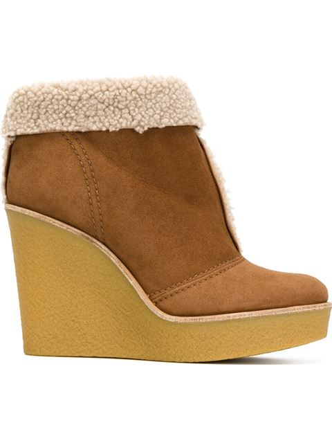 ChloÉ Suede And Shearling Wedge Ankle Boots In Female