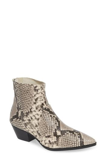 eee44691dc1 Steve Madden Cafe Reptile-Embossed Leather Ankle Boots In Natural-Reptile