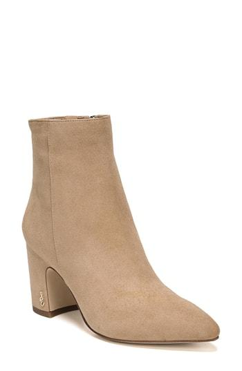 53b25e293a50 Sam Edelman Women s Hilty Pointed Toe Block High-Heel Ankle Booties In  Golden Caramel Suede