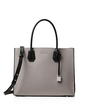 7537b0ff0bccc Michael Michael Kors Mercer Large Contrast Leather Tote In Gray/Black/Silver