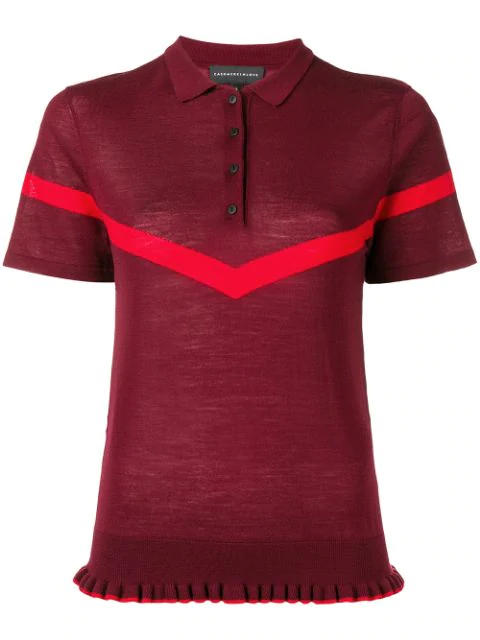 Cashmere In Love Jean Knitted Polo Shirt In Red