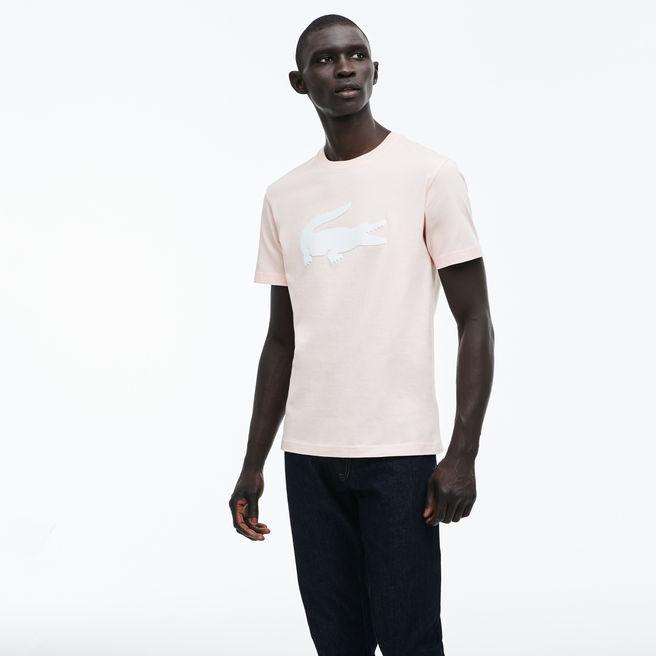 4d925177a0 Men's Crew Neck Oversized Crocodile Cotton Jersey T-Shirt in Light Pink /  White