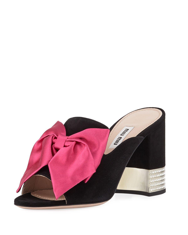 e0e6ec9332d Miu Miu Suede Slide Sandals With Bow In Black Pink