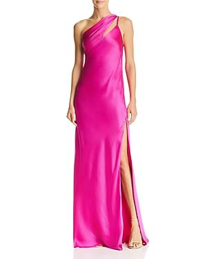 f744716731b3b Michelle Mason One Shoulder Gown With Tie In Fuschia | ModeSens