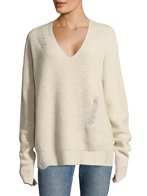 67669b44713 Helmut Lang Distressed V-Neck Sweater In Crema