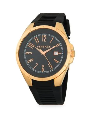 Versace Stainless Steel Rubber-Strap Watch In Rose Gold