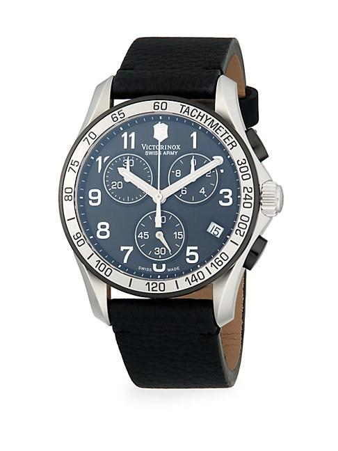 Chrono Classic Stainless Steel Leather Strap Chronograph Watch In Black