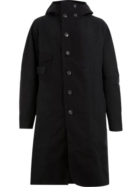 Ziggy Chen Single-breasted Hooded Coat In Black